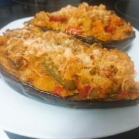 2 RECETAS EN 1. Berenjenas Rellenas  Y Fajitas De Pollo y Berenjena - Sin Gluten Ni Lactosa y bajas en grasa